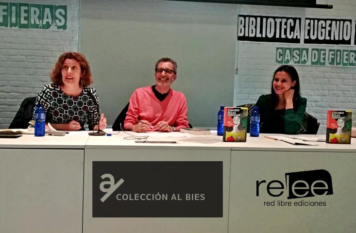 """Eloy Tizón presentó junto a las coordinadoras de la edición , Maria José Bruña y Ana Pellicer el primer libro """"Cuando Ellas Cuentan"""""""